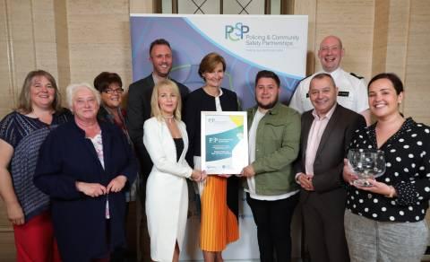 Staff from EBCDA, NI Alternatives, Ardoyne Youth Enterprise, Street Beat, East Belfast DPCSP, PSNI, and the NI Policing Board